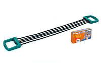 Эспандер резиновый плечевой 5 жгутов (резина, PL, d-7мм, l-63см, ручка пластик)