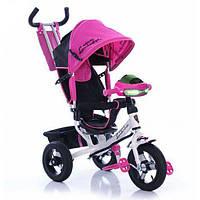 Велосипед детский трехколесный Бело Розовый Azimut AIR Lamborghini L2 VIP с фарой и музыкой