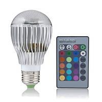 Разноцветная светодиодная лампочка на 9W E27 с пультом управления, фото 1