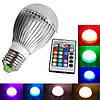 Разноцветная светодиодная лампочка на 10W E27 с пультом управления