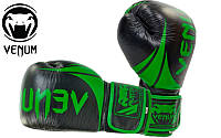 Перчатки боксерские кожаные VENUM Challenger 10oz черно-зеленые