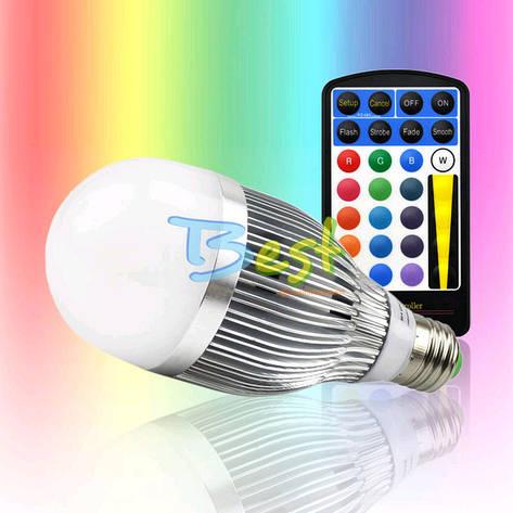Разноцветная светодиодная лампочка на 15W E27 с пультом управления, фото 2
