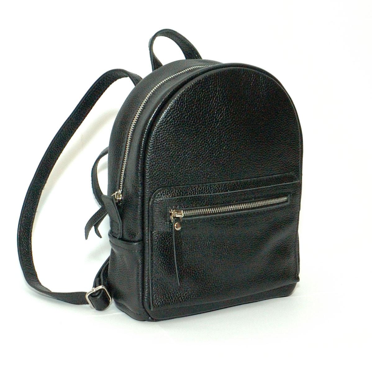 69549d256cc0 Женский кожаный рюкзак черный флотар - Интернет-магазин