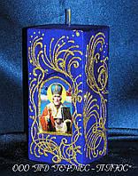 """Декоративная Пасхальная свеча """"Арка с святым Николаем Чудотворцем"""""""