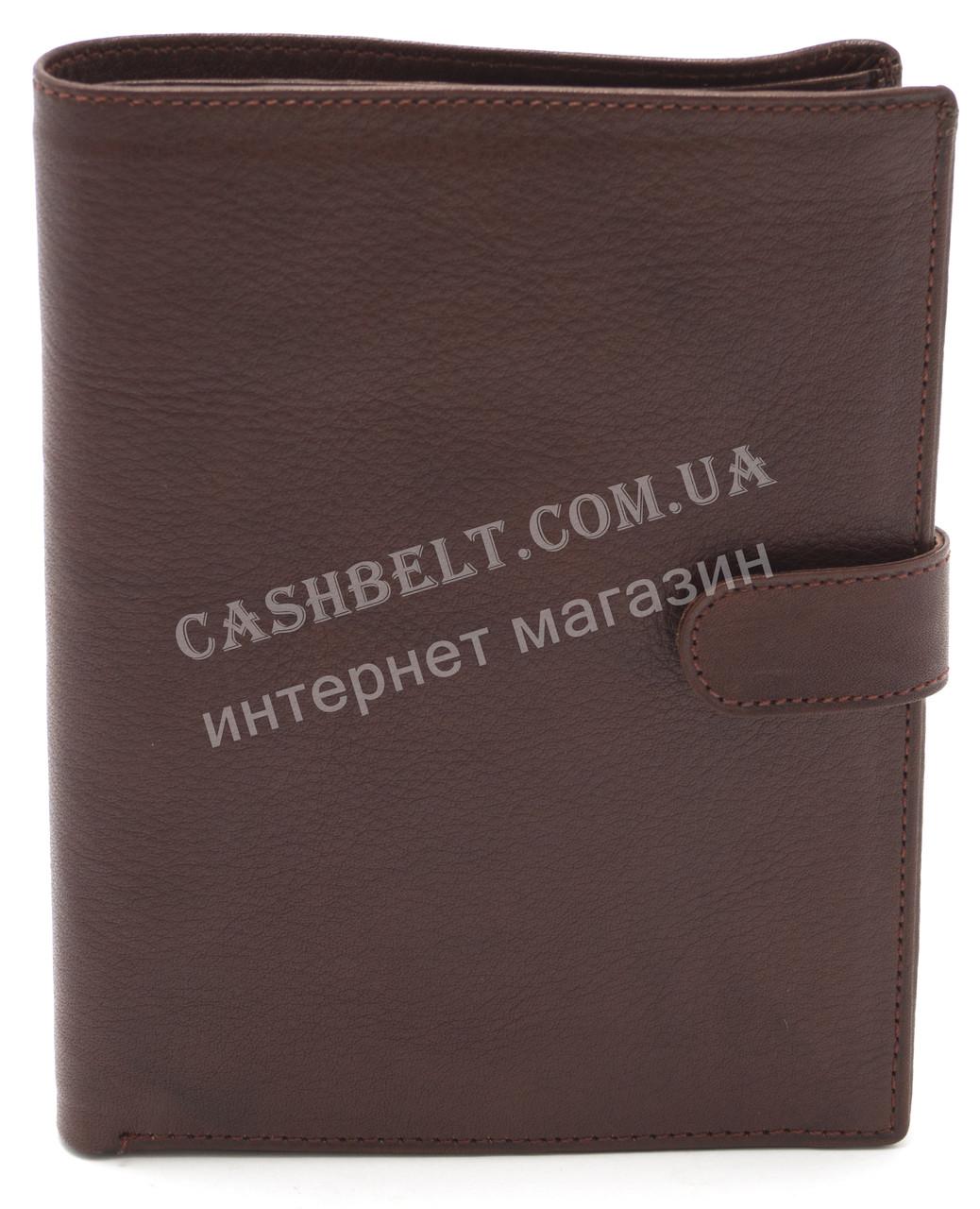 Стильный практичный кожаный мужской кошелек портмоне документница WENZ art. KB506 коричневого цвета