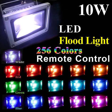 Светодиодный разноцветный прожектор на 10W c пультом дистанционного управления, фото 2
