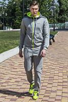 Спортивный костюм freever мужской св. серый с салатовым 7799
