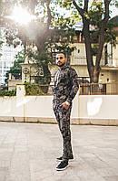 Стильный мужской спортивный костюм принт «Хаки» 4 цвета