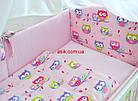 Комплект постільної білизни Asik Кольорові сови і горошок на рожевому тлі 8 предметів (8-243), фото 6