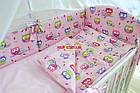 Комплект постільної білизни Asik Кольорові сови і горошок на рожевому тлі 8 предметів (8-243), фото 7