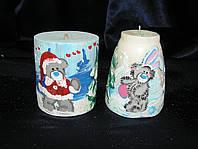 Декоративная свеча с новогодним полиграфическим изображением