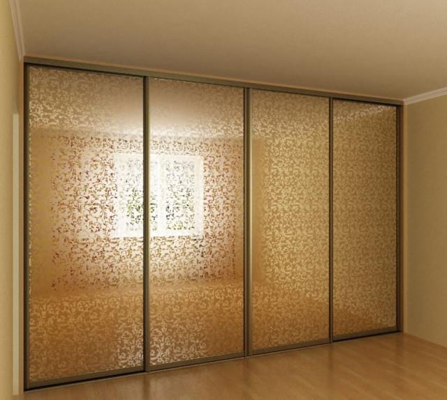Шкаф купе Зеркало бронза с пескоструйным фасадом