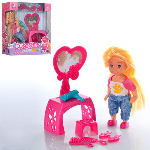 Кукла K899-21 (96шт) 11,5см, трюмо, стульчик, аксессуары, в кор-ке, 15-16-5см