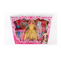 Кукла с нарядом KP001A (48шт) 28см, дочка,10см,платья 12шт,бутылочка,телефон,в кор-ке, 38-32,5-5,5см