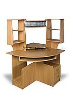 Угловой компьютерный стол с полками, СК-92, 90*90, ольха темная