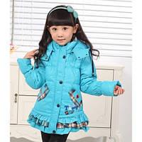 Пуховик для девочки с клетчатой отделкой размер 122 голубой snoopy снупи