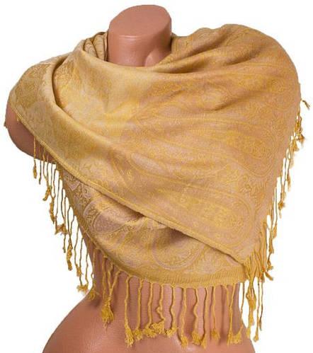 Очаровательный женский двусторонний палантин из пашмины 168 на 68 см ETERNO ES0206-2-5 желтый