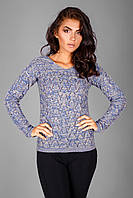 Модный  пуловер с ажурным узором, фото 1