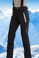 Женские брюки FREEVER (soft shell) черные с бирюзой 6501