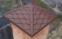 Крышка для забора «Чешуя новая». Цвет коричневый, красный. Размер 450х450 мм. Вес 36 кг.