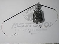 Фидерный  монтаж кормушка Пуля:100г, противозакручиватель, крючок СHINU-R №8 Корея с поводком из лески 0,22мм