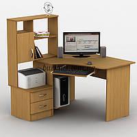 Угловой компьютерный стол с полками, Тиса-1 бук светлый