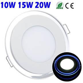 Встраиваемый светодиодный светильник, панель на 15W  с голубой  диодной подсветкой, фото 2