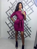 Платье до колен с рукавом три четверти