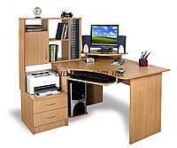 Угловой компьютерный стол с полками, Эксклюзив-1 ольха тёмная