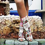 Стильные нежные тканевые сапожки с открытым носком , фото 2
