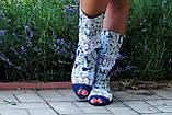 Стильные синие сапожки с открытым носком , фото 2