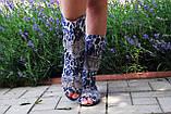 Стильные тканевые сапожки с открытым носком , фото 2