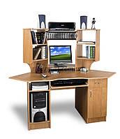 Угловой компьютерный стол с полками, СК-115 ольха темная