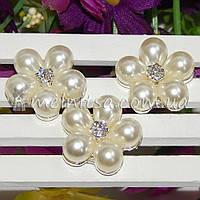 Жемчужно-стразовый декор Цветок 2,3 см, серебро