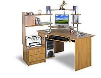 Угловой компьютерный стол с полками, СТУ-3 орех лесной