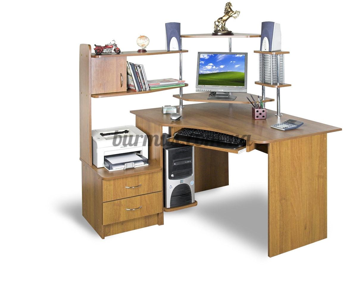 Угловой компьютерный стол с полками, сту-3 орех лесной: прод.