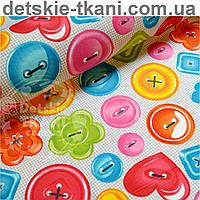Ткань хлопковая с изображением разноцветных пуговиц №390а