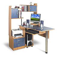Угловой компьютерный стол с полками, СТН-2  ольха темная+ ольха синяя
