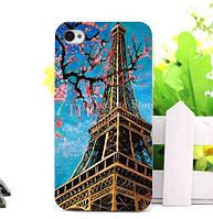 Чехол силиконовый бампер для Iphone 4/4s с рисунком Эйфелева башня