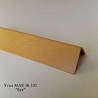 """Угол пластиковый (ПВХ) текстура под дерево """"Mak"""" Польща   2.7м 102, 10*10"""