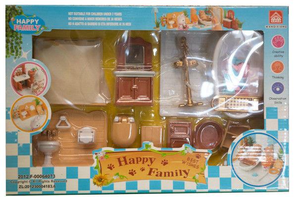 Набор мебели Ванная комната для флоксовых животных Happy Family 012-07B (аналог Sylvanian Families)