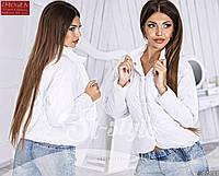 Стильная осенняя укороченная курточка на кнопках, воротник стойка, белая