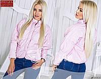 Стильная осенняя укороченная курточка на кнопках, воротник стойка, розовая