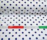 Хлопковая ткань с синим горошком 1 см на белом фоне №393а, фото 4