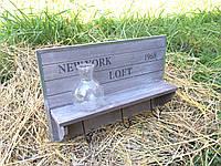 Деревянная полочка / вешалка Лофт, фото 1