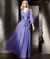 Длинное  платье в пол с атласным поясом