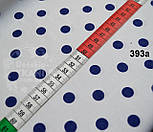 Хлопковая ткань с синим горошком 1 см на белом фоне №393а, фото 5