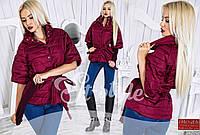 Стильная осенняя курточка на кнопках, со съемными рукавами (вязка), бордовая