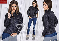 Стильная осенняя курточка на кнопках, воротник стойка, черная