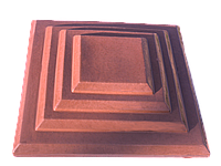 Крышки на кирпичные столбы забора «КАСКАД» 400х400, цвет красный, вес 20 кг.